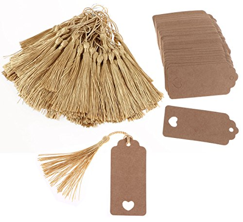 Wedding Bookmarks - Tupalizy Brown Rectangle Paper Wedding Party Favor Thank You Gift Tags with Gold Silky Floss Bookmarks Tassels for Jewelry Making, Souvenir, Decoration and DIY Craft Project, 200PCS (Gold & Brown)