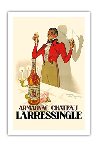 (Pacifica Island Art Armagnac Chateau Larressingle - French Brandy - Vintage Advertising Poster by Henri Le Monnier c.1938 - Premium 290gsm Giclée Art Print 24in x 36in)