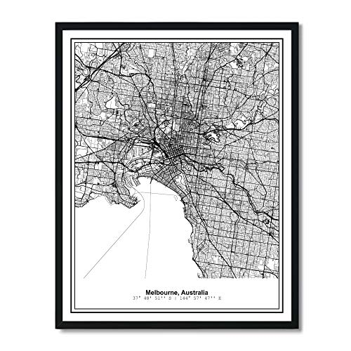 (Susie Arts 11X14 Unframed Melbourne Australia Metropolitan City View Abstract Street Map Art Print Poster Wall Decor V274)