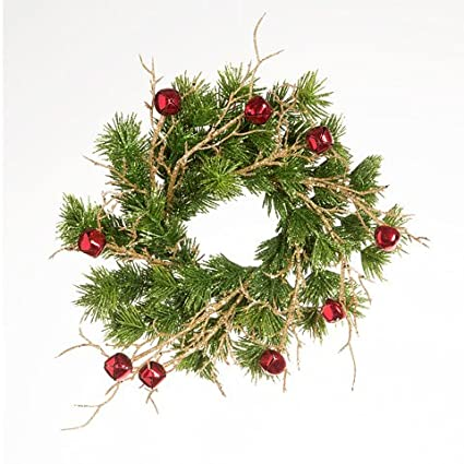 christmas candle ring mini wreath for 3 inch pillar style candle glittered pine with branches - Decorative Christmas Candle Rings