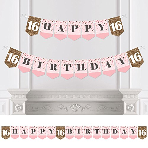 Sweet 16   Birthday Party Bunting Banner   16Th Party Decorations   Happy Birthday