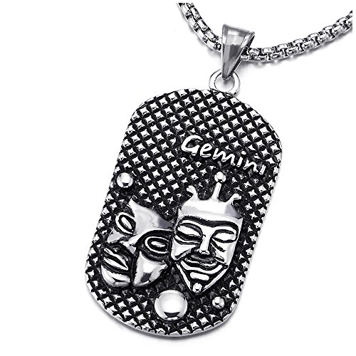 Horoscope Gemini Zodiac Sign (Vintage Stainless Steel Horoscope Zodiac Signs Gemini Dog Tag Pendant Necklace Oxidized Black with 30 inches Wheat Chain, Twelve Constellations, Mens Women)