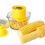 Ultra-Sharp Stainless Steel Corn Thresher 2 in 1 Corn Peelers Easy-clean Corn Stripper with Safe Pusher + Two Way Grater + Container with Measuring Multi-function Kitchen Gadget (Yellow)