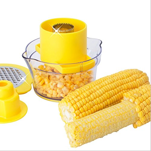 Ultra-Sharp Stainless Steel Corn Thresher 2 in 1 Corn Peelers Easy-clean Corn Stripper with Safe Pusher + Two Way Grater + Container with Measuring Multi-function Kitchen Gadget - Thin Corn Ultra