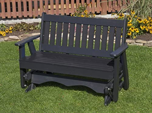 Ecommersify Inc 5FT-Black-Poly Lumber Mission Porch Glider Heavy Duty Everlasting PolyTuf HDPE – Made in USA – Amish Crafted