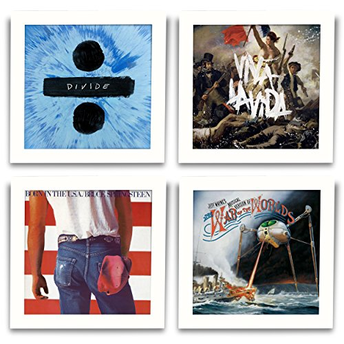 Flip Cover Set - Show & Listen Album Cover Display Frame, Flip Frame Displays Vinyl Records, 12.5x12.5, White, Set of 4