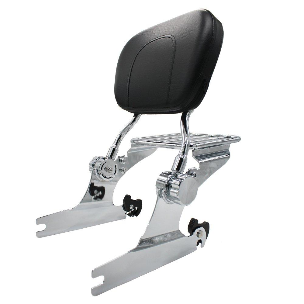 TJMOTO Chrome Adjustable Detachable Passenger Backrest Sissy Bar Luggage Rack For 2000-2005 Harley Davidson Softail Model
