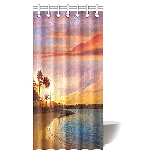 InterestPrint Beach Decorations Shower Curtain, Sunset In Mahon At Balearic Islands Of Spain Coast Fabric Bathroom Shower Curtain Set, 36 X 72 inches by InterestPrint