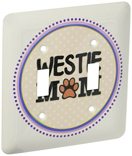 - 3dRose lsp_151835_2 Westie Dog Mom West Highland White Terrier Doggie Mama By Breed Doggy Lover Paw Print Owner Double Toggle Switch