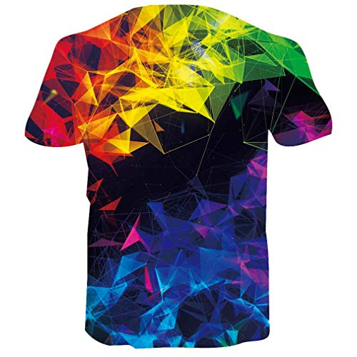 RAISEVERN 3D Printed Colorful Irregular Crystal Tshirts Summer Casual Short Sleeve Tees T Shirt for Boys Girls Small
