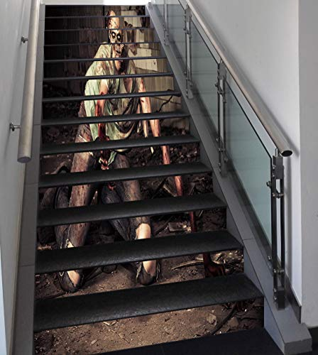 Stair Stickers Wall Stickers,13 PCS Self-adhesive,Zombie Decor,Halloween Scary Dead Man in Old Building with Bloody Head Nightmare Theme,Grey Mint Peach,Stair Riser Decal for Living Room, Hall, Kids R