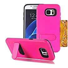 Galaxy S7 Edge Case, Asstar Card Holder Galaxy S7 Edge Wallet Case Slim Hybrid Protective Shell Shockproof Rubber Bumper Armor Case Built-in Kickstand Cover for Galaxy S7 Edge (Rose)