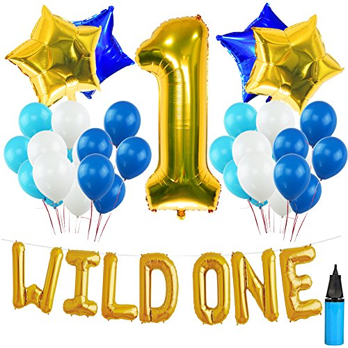 WILD ONE BIRTHDAY DECORATION KIT, Blue and White Balloons Set Perfect for 1st Bday Party Supplies Girl or Boy with One FREE Number 1 Cake Topper & Air -