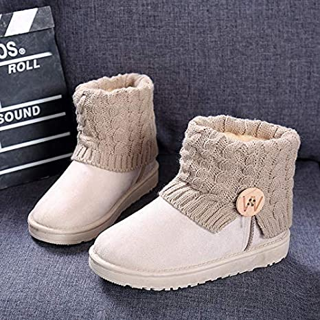 Boots Knitting Slip on Flat Hot Arrival Sale Womens Shoes Hot Heel Patchwork Snow Suede Booties Shoes Brown,6