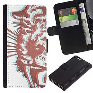 For Apple iPhone 6 Plus(5.5 inches),S-type® Tiger 3D Brown Drawing Stereoscopic - Dibujo PU billetera de cuero Funda Case Caso de la piel de la bolsa protectora