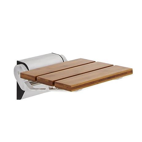 Amazon.com: Modem Bamboo Wooden Folding Shower Seat - Chrome ...