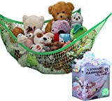 toy organization ideas MiniOwls Toy Storage Hammock Large Organizer and De-cluttering Solution for Every Girl's and Boy's Room, Nursery & Playroom (Green, L)