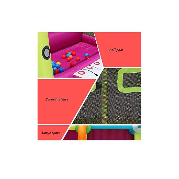 51CezvJ5APL ▲ No tardará mucho en inflar y poner en funcionamiento su casa de rebote; ¡También son relativamente fáciles de desinflar y plegar a un tamaño compacto para almacenarla cuando ya no la necesite! BONIFICACIÓN: el castillo inflable de rebote viene con un soplador. ▲ Tamaño del material: tela oxford ecológica, PVC; 350x225x220cm; el castillo hinchable, la bolsa de agua y el soplador están incluidos en el paquete. ▲ Perfecto para regalos de cumpleaños, regalos de Navidad o para mantener a los pequeños ocupados en verano; ¡The Bouncer hará las delicias de todos los niños!