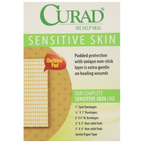 Curad Sensitive Skin Strips Spots, 50 Count, 3 pack