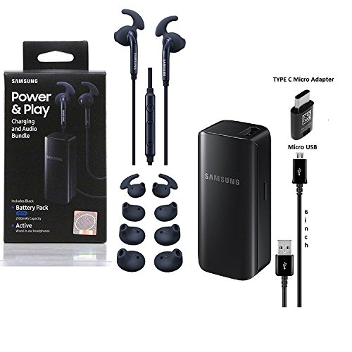 Official Samsung Universal All in One Kit -W/ 2100mAh Power Bank Battery,Samsung Micro USB,TYPE C Adapter,Active Headset Ear Gel, (US Retail Pack) ()