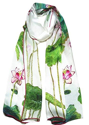 Grazing Women's 20 Inch x 68 Inch Long 100% Satin Silk Printed Scarf Shawl