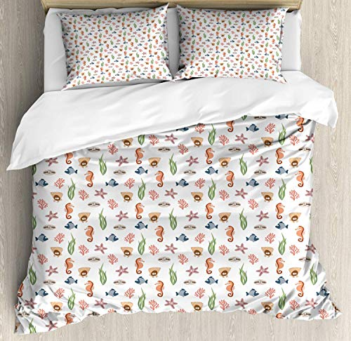 Sea Life Duvet Cover Set Queen Size Colorful Various Sea Creatures and Plants Doodle Drawings Underwater Elements Decorative 4 Piece Bedding Set with 2 Pillow Shams Multicolor -