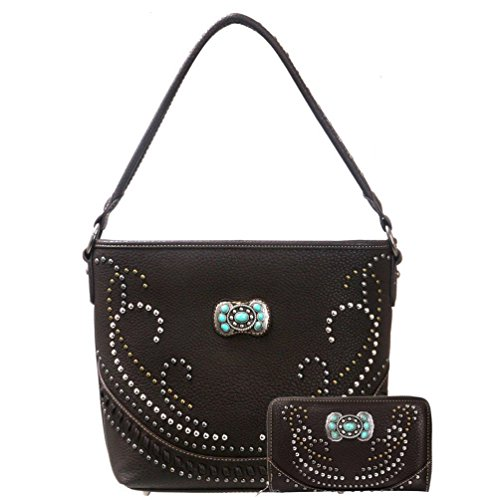 [Montana West Concealed Carry Handgun Collection Handbag and Wallet-Coffee] (Concho Collection)