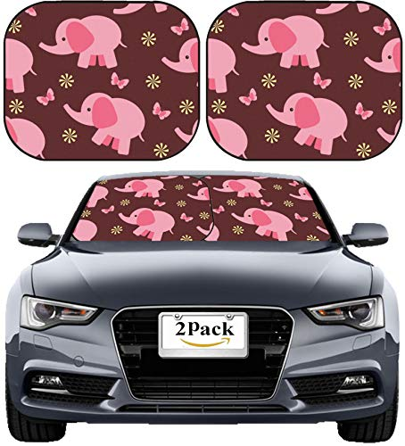 (MSD Car Sun Shade Windshield Sunshade Universal Fit 2 Pack, Block Sun Glare, UV and Heat, Protect Car Interior, Image ID: 12065404 Seamless Wallpaper with Pink Elephant)