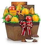 GiftTree Fresh Fruit and Godiva Chocolates Gift Basket – Assortment Godiva Chocolates & Fresh Fruit – Elegant Gift Basket for Men or Women