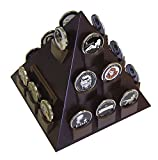 DECOMIL Pyramid Shaped Military Challenge Coin & Poker Chips Holder with Rotatable Base