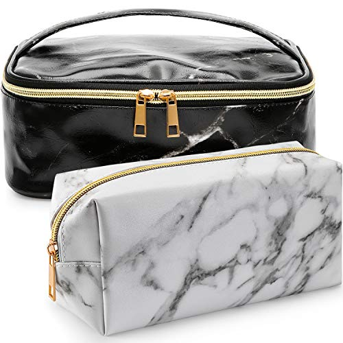 TOODOO 2 Pieces Cosmetic Toiletry Makeup Bag Pouch