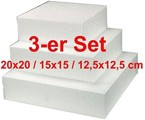 EPS de revestir, cuadrado, 3 unidades, 20/15/12,5 cm, tarta Dummy poliestireno: Amazon.es: Hogar