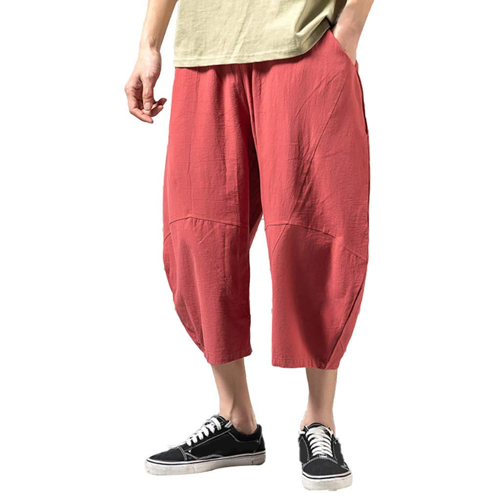 Men's Baggy Shorts, Summer Casual Loose Linen Leisure Solid Plus Size Trousers Ankle-Length Pant with Pockets