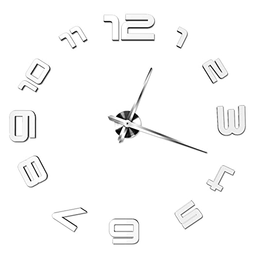 Amazon.com: VariousWallClock Wall clock Large diy Arabic numerals acrylic Mirror Sticker Big Watch Removable Decoration for bed room kitchen Childrens Room ...