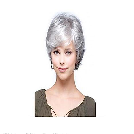 longlove corto gris blanco natural ondulado Fluffy Curly pelo humano peluca para mujeres y abuela