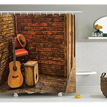 Music Decor Shower Curtain Set By Ambesonne, Music Instruments On Wooden  Stage In Pub Beverage