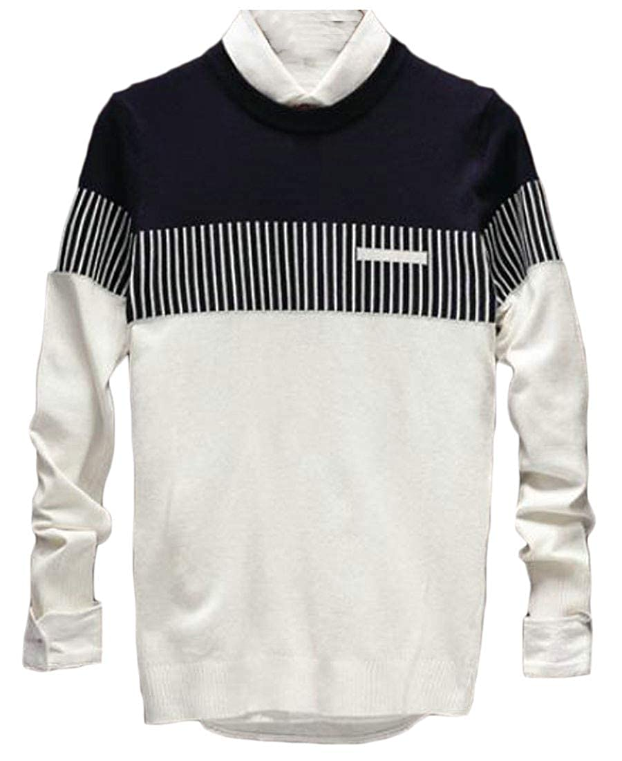 Blyent Mens Contrast Color Retro Striped Knitted Crewneck Jumper Sweaters