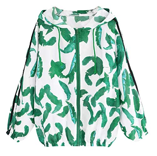 Lazzboy Green Long Lightweight Thin Green Womens Print Hoodie Sleeve Windbreaker Skinsuits Leaves Jacket Sport Zipper Coat BTZBU