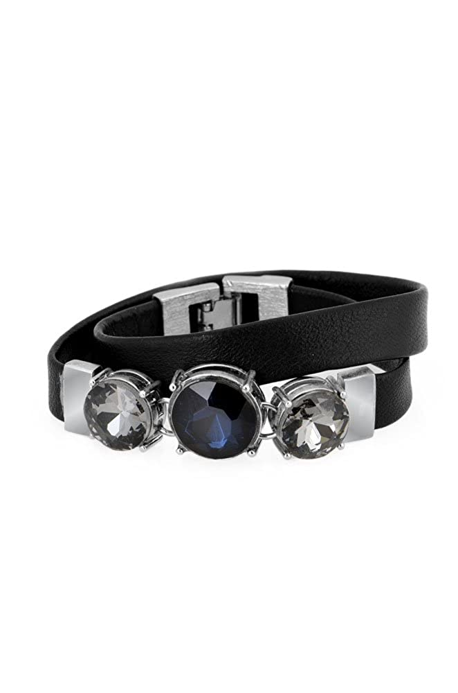 Jones New York Blue Waters Womens Double Leather Wrap Bracelet with Stones Blue One Size