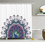 Peacock Shower Curtain Decor by Ambesonne, Peacock Pattern and Exotic Wildlife Feather Ornament Vintage Oriental Image, Polyester Fabric Bathroom Shower Curtain Set with Hooks, Pink Navy Green Purple