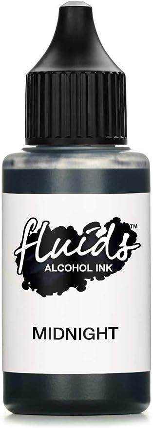30ml Fluids Alcohol Ink MIDNIGHT, Tinta al alcohol para Fluid Art y Resin Art, resina epoxi, negro