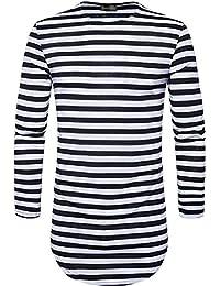 "<span class=""a-offscreen"">[Sponsored]</span>Men's Fashion Long Sleeve Stripe Longline T-Shirt Tee Top JZA323"