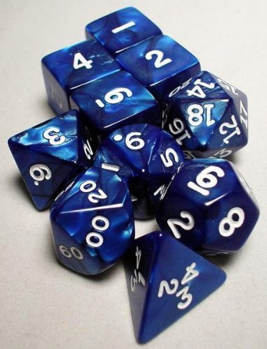 Navy Pearlized Polyhedral Dice Set 10pc Set in Tube