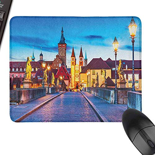 Small Mouse Pad Urban Colorful Sunset Evening View of Old Main Bridge in Historical Land Bavaria Germany for Office, Gaming, Learning,9.8