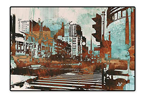 Kid Non Slip Rug Pad Urban Cityscape Contemporary Abstract Acrylic Paint Style Brush Strokes Seafoam Brown White Dual Surface 6'x8' ()