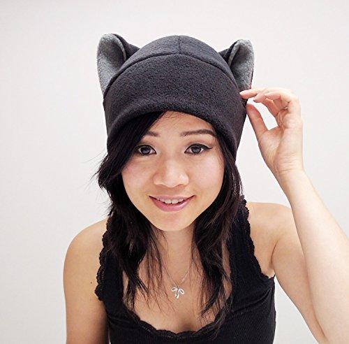 Black Cat Ear Hat Toque Beanie Feline Kitty Kitten Fleece Anime Manga Ski Snowboarding Convention Goth Punk Rave Costume Cosplay Halloween cat Christmas -