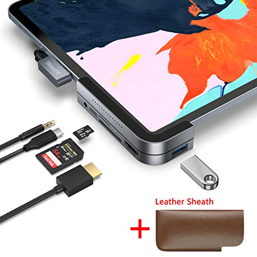 Invisible USB C Hub for iPad Pro, iPad Pro 2018 Docking Station Stouchi 6 in 1 iPad Pro Dongle Adapter- USB 3.1 (5Gb/s), 4K HDMI, 3.5mm Headphone and Micro/SD Card Readers for 2018 iPad Pro and More from Stouchi