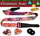 Pink Guitar Strap Adjustable For Kids & Girls Bundle Includes 2 Strap Locks & 2 Matching Picks- For Electric & Acoustic First Act Discovery & Guitar Lovers. Christmas New Year Holidays Presents