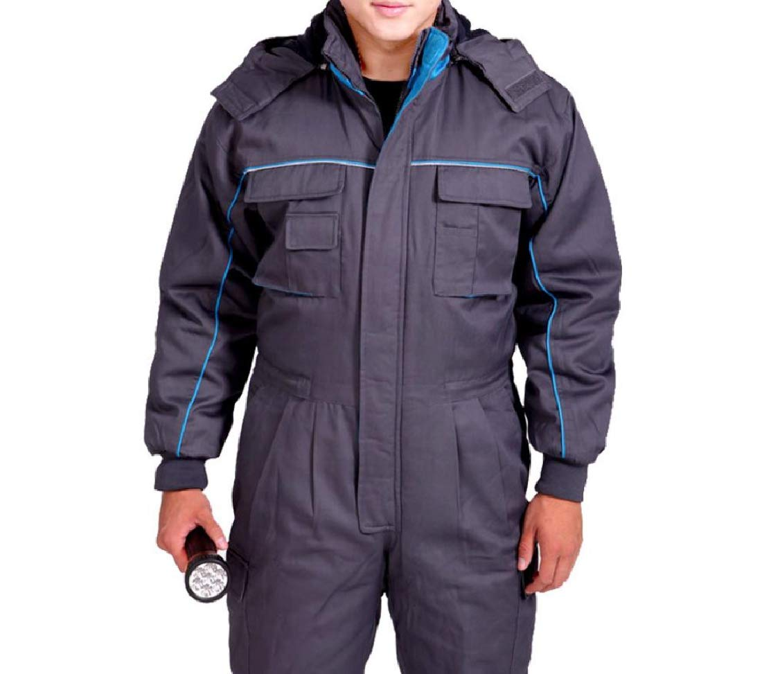 Men Winter Snowsuit Work Wear Thickened Padded Outwear Coveralls Grey M
