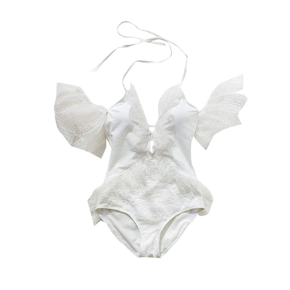 White Lightweight Bikini Swimsuit Women's Sexy White lace highend Conjoined hot Spring Vacation Swimsuit